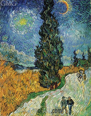 Road with Cypress and Star, 1890 | Vincent van Gogh | Gemälde Reproduktion