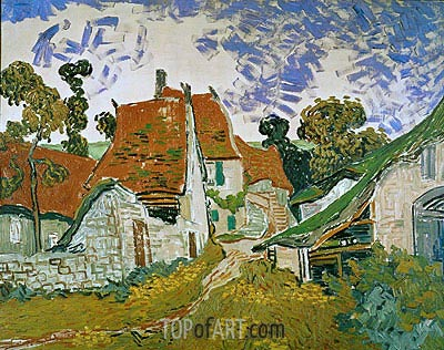 Village Street in Auvers, 1890 | Vincent van Gogh | Gemälde Reproduktion
