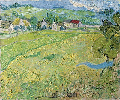 View of Vessenots Near Auvers, 1890 | Vincent van Gogh | Gemälde Reproduktion