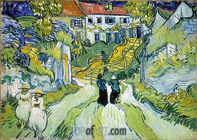 Village Street and Stairs with Figures, 1890 | Vincent van Gogh | Painting Reproduction