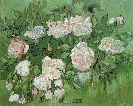 Still Life - Pink Roses, June 1890 | Vincent van Gogh | Painting Reproduction