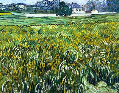 Wheat Field at Auvers with White House, 1890 | Vincent van Gogh | Gemälde Reproduktion
