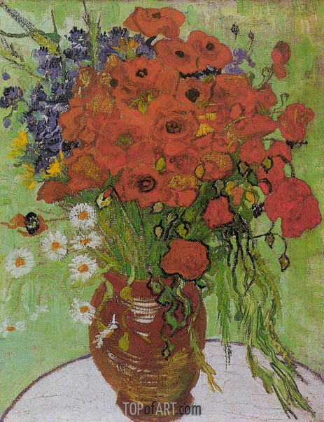 Still Life - Red Poppies and Daisies, June 1890 | Vincent van Gogh | Gemälde Reproduktion
