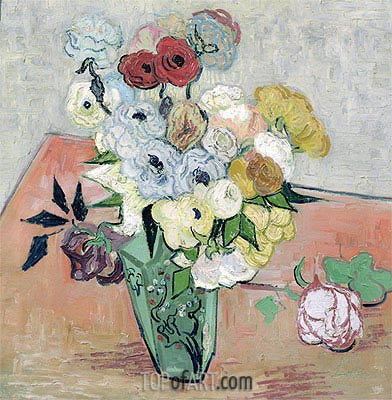 Still Life - Vase with Roses and Anemones, 1890 | Vincent van Gogh | Painting Reproduction