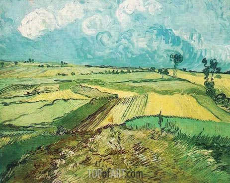 Wheat Fields at Auvers Under Clouded Sky, July 1890 | Vincent van Gogh | Painting Reproduction