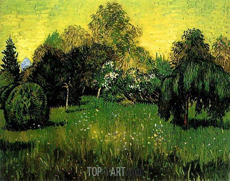 Public Park with Weeping Willow, 1888 | Vincent van Gogh | Painting Reproduction