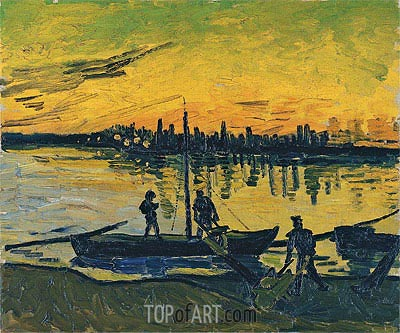 Coal Barges, 1888 | Vincent van Gogh | Painting Reproduction