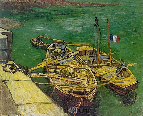Quay with Men Unloading Sand Barges, August 188 | Vincent van Gogh | Painting Reproduction
