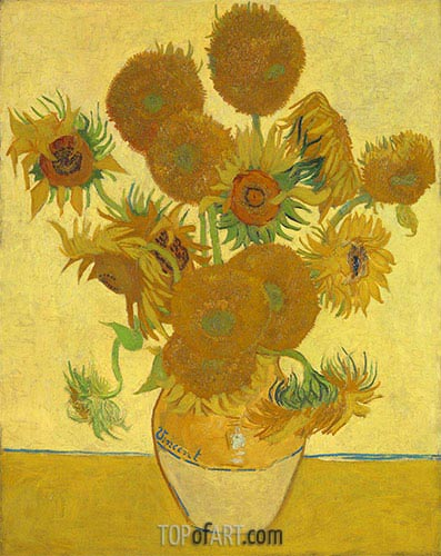 Still Life: Vase with Fourteen Sunflowers, 1888 | Vincent van Gogh | Painting Reproduction