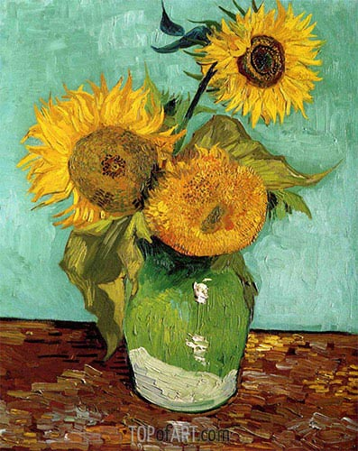 Three Sunflowers in a Vase, 1888 | Vincent van Gogh | Painting Reproduction
