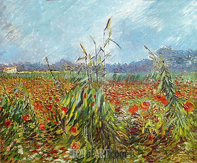 Corn Fields and Poppies, 1888 | Vincent van Gogh | Gemälde Reproduktion