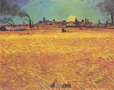 Sunset: Weat Fields Near Arles, June 1888 | Vincent van Gogh | Gemälde Reproduktion