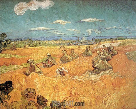 Wheat Stacks with Reaper, 1888 | Vincent van Gogh | Painting Reproduction