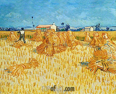 Harvest in Provence, 1888 | Vincent van Gogh | Painting Reproduction