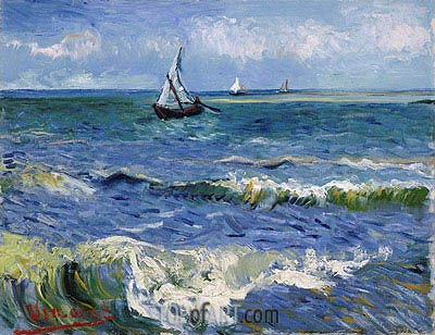 Seascape at Saintes-Maries, 1888 | Vincent van Gogh | Gemälde Reproduktion