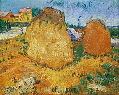 Haystacks in Provence, 1888 | Vincent van Gogh | Gemälde Reproduktion