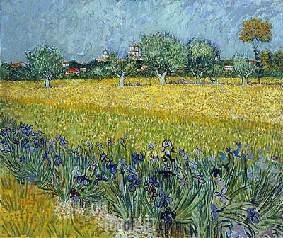 View of Arles with Irises in the Foreground, 1888 | Vincent van Gogh | Gemälde Reproduktion