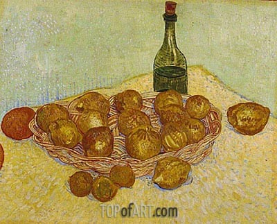 Still Life: Bottle, Lemons and Oranges, 1888 | Vincent van Gogh | Painting Reproduction
