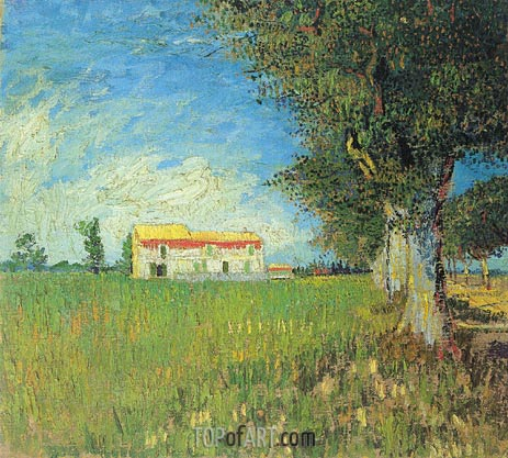 Farmhouse in a Wheat Field, 1888 | Vincent van Gogh | Painting Reproduction