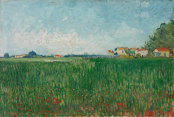Farmhouses in a Wheat Field Near Arles, May 1888 | Vincent van Gogh | Gemälde Reproduktion