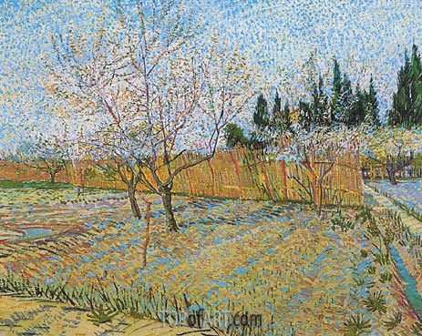Orchard with Peach Tress in Blossom, April 1888 | Vincent van Gogh | Gemälde Reproduktion