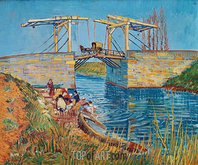 The Langlois Bridge at Arles with Women Washing, 1888 | Vincent van Gogh | Painting Reproduction