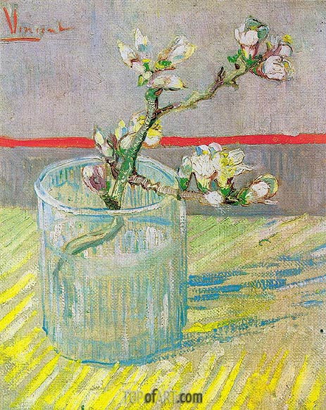 Blossoming Almond Branch in a Glass, 1888 | Vincent van Gogh | Painting Reproduction
