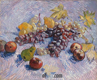 Still Life with Grapes, Apples, Pears and Lemons, Autumn 188 | Vincent van Gogh | Painting Reproduction