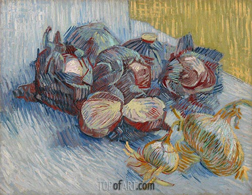 Still Life with Red Cabbages and Onions, 1887 | Vincent van Gogh | Painting Reproduction