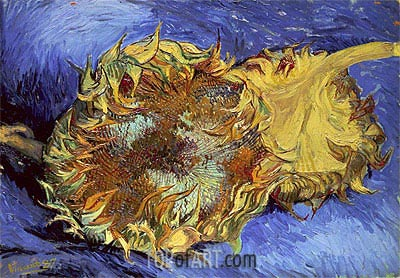 Two Cut Sunflowers, 1887 | Vincent van Gogh | Painting Reproduction
