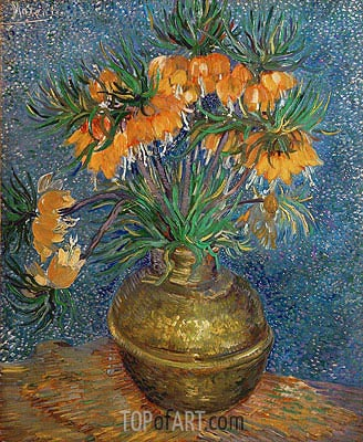 Crown Imperial Fritillaries in a Copper Vase, 1886 | Vincent van Gogh | Painting Reproduction