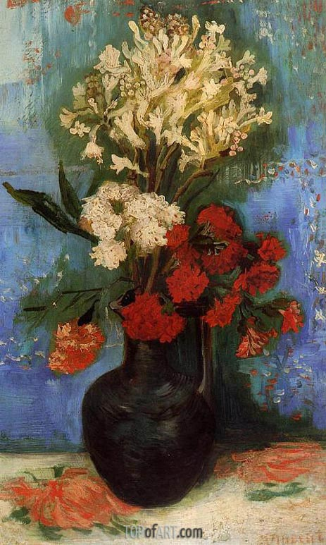 Vase with Carnations and Other Flowers Summer 188 | Vincent van Gogh | Painting Reproduction & Vase with Carnations and Other Flowers | Vincent van Gogh | Painting ...