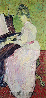 Marguerite Gachet at the Piano, 1890 | Vincent van Gogh | Painting Reproduction