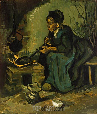 Peasant Woman Cooking by a Fireplace, 1885 | Vincent van Gogh | Painting Reproduction
