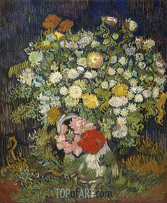 Bouquet of Flowers in a Vase, c.1889/90 | Vincent van Gogh | Gemälde Reproduktion
