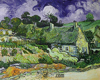 Thatched Cottages at Cordeville, 1890 | Vincent van Gogh | Painting Reproduction