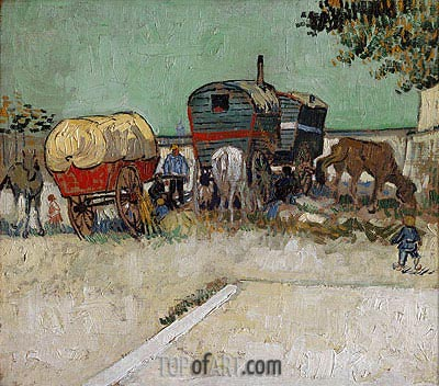 Encampment of Gypsies with Caravans, 1888  | Vincent van Gogh | Gemälde Reproduktion