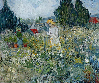 Marguerite Gachet in the Garden at Auvers-sur-Oise, 1890 | Vincent van Gogh | Painting Reproduction