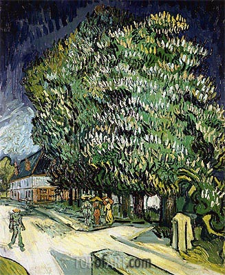 Chestnut Trees in Blossom, Auvers-sur-Oise, 1890 | Vincent van Gogh | Painting Reproduction