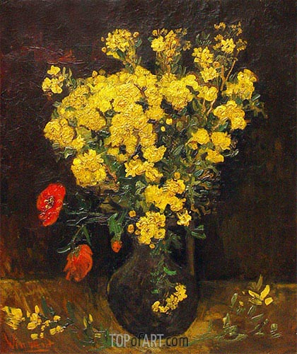 Vase with Poppy Flowers, 1887 | Vincent van Gogh | Painting Reproduction
