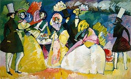 Group in Crinolines, 1909 by Kandinsky | Painting Reproduction