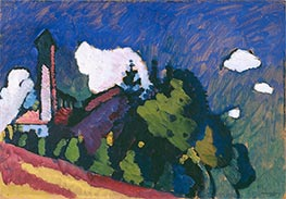 Study for Landscape with Tower, 1908 by Kandinsky | Painting Reproduction
