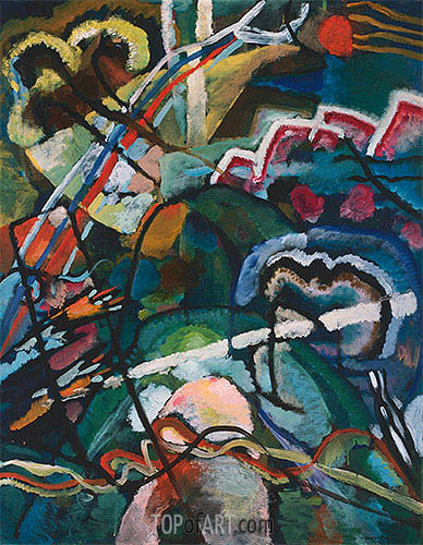 Sketch I for Painting with White Border (Moscow), 1913 | Kandinsky | Painting Reproduction