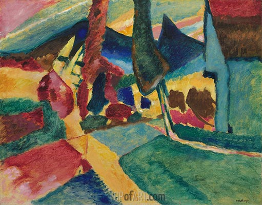 Landscape with Two Poplars, 1912 | Kandinsky | Painting Reproduction