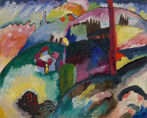 Landscape with Factory Chimney, 1910 | Kandinsky | Painting Reproduction