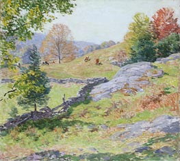 Hillside Pastures - September, 1922 by Willard Metcalf | Painting Reproduction