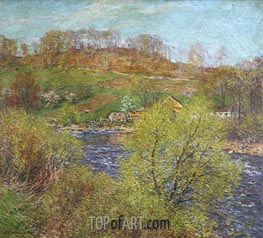 Blossoming Willows, c.1920 by Willard Metcalf | Painting Reproduction