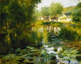 The Lily Pond, 1887 by Willard Metcalf | Painting Reproduction