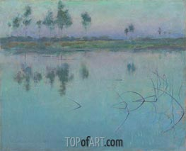 Reflections, Grez-sur-Loing, 1886 by Willard Metcalf | Painting Reproduction