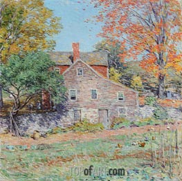 Corner of the Garden | Willard Metcalf | Painting Reproduction